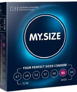 Prezervative My Size Marimea 64 latex diametru 64 lungime 19.5 lubrifiate XXL